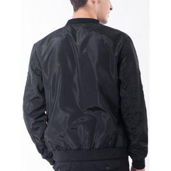 Rib Stand Collar Pocket Graphic Appliques Zip Up Jacket - BLACK 2XL