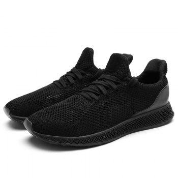 Mesh Lace Up Breathable Athletic Shoes - BLACK 41