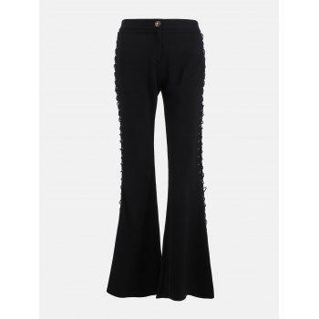 Flare Pants with Criss Cross Lace Up - BLACK S