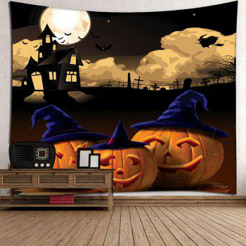 Halloween Night Moon Pumpkin Waterproof Wall Tapestry - GRAY W79 INCH * L59 INCH