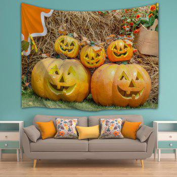 Halloween Decor Grimace Pumpkin Wall Tapestry - LIGHT BROWN W51 INCH * L59 INCH