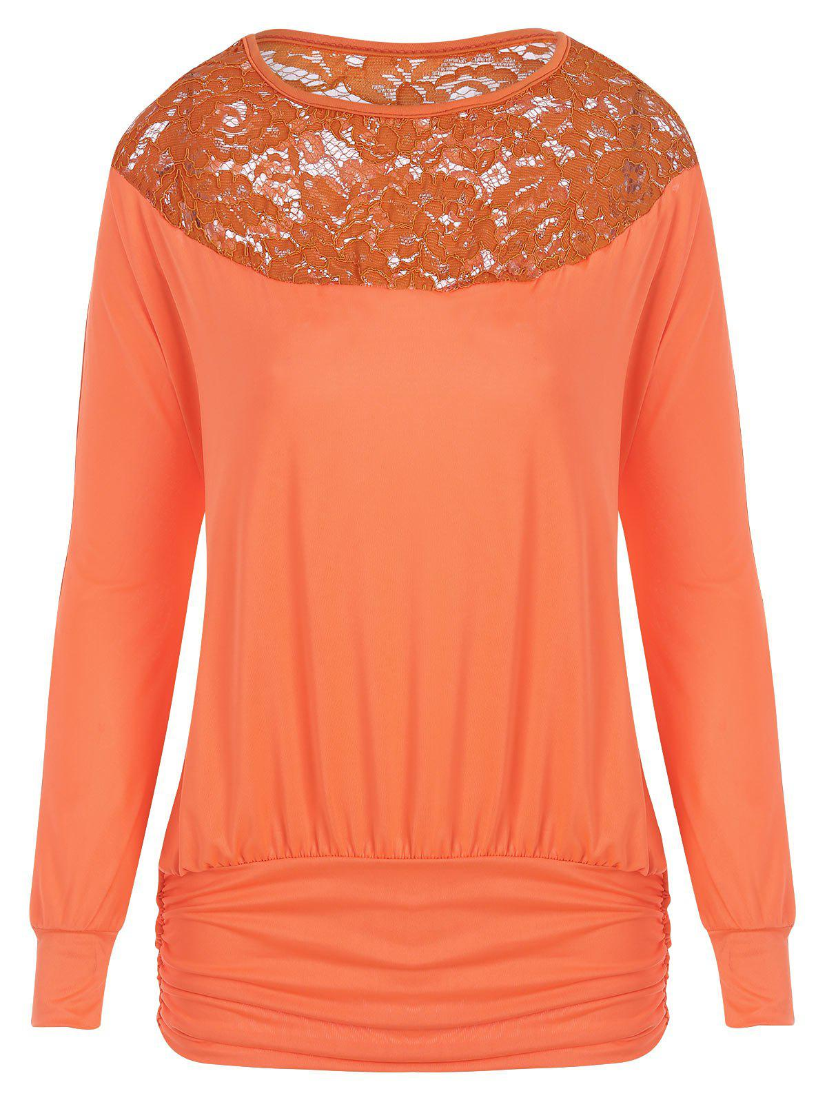Lace Panel Scrunch Long Sleeve Top