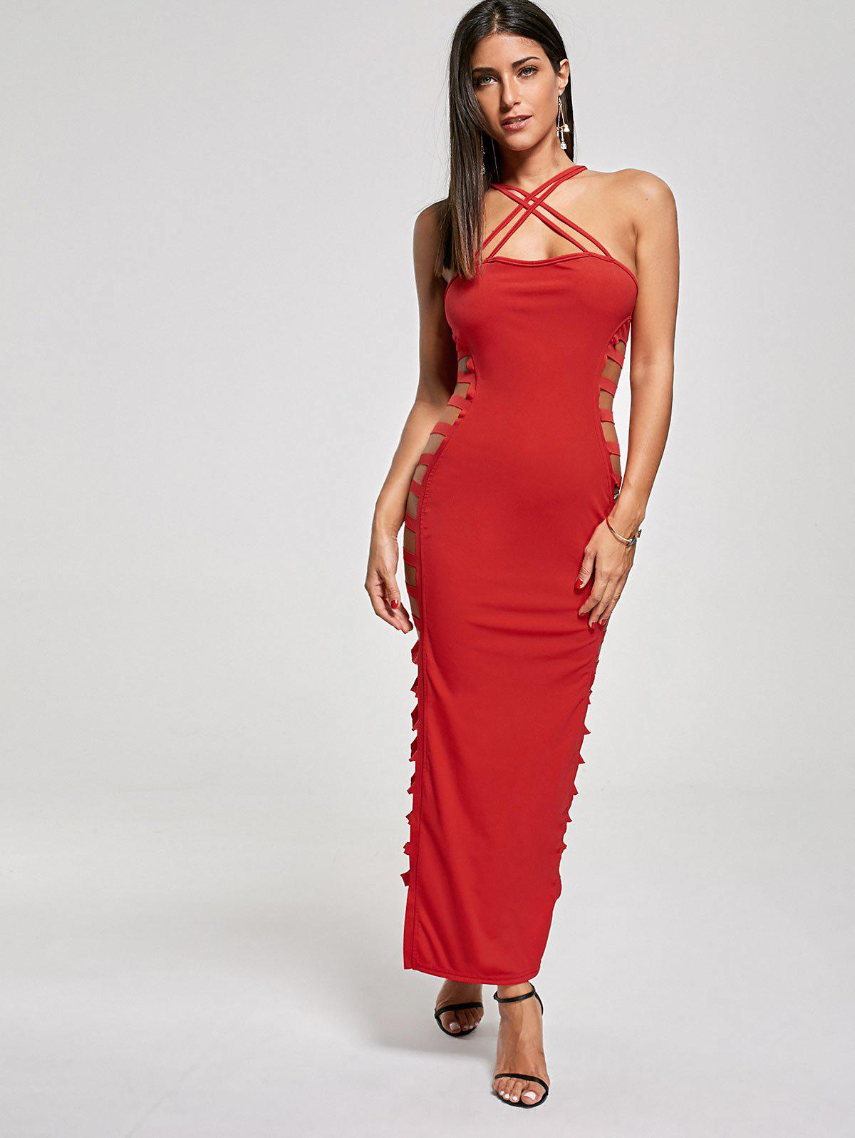 Sexy Cut Out Criss Cross Club Dress - RED S