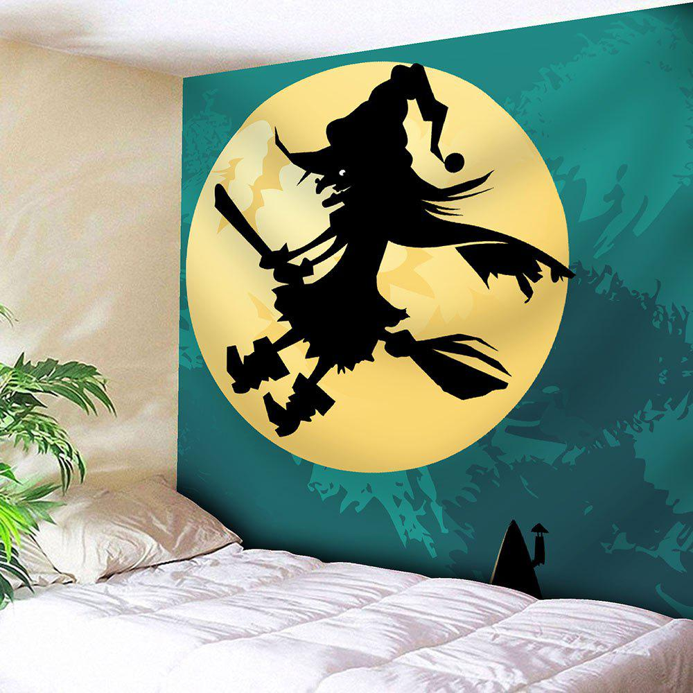 Moon Halloween Witch Velvet Waterproof Tapestry - COLORMIX W79 INCH * L59 INCH