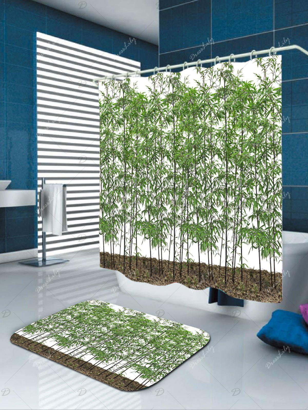Waterproof Fabric Bamboo Trees Shower Curtain - GREEN W71 INCH * L79 INCH