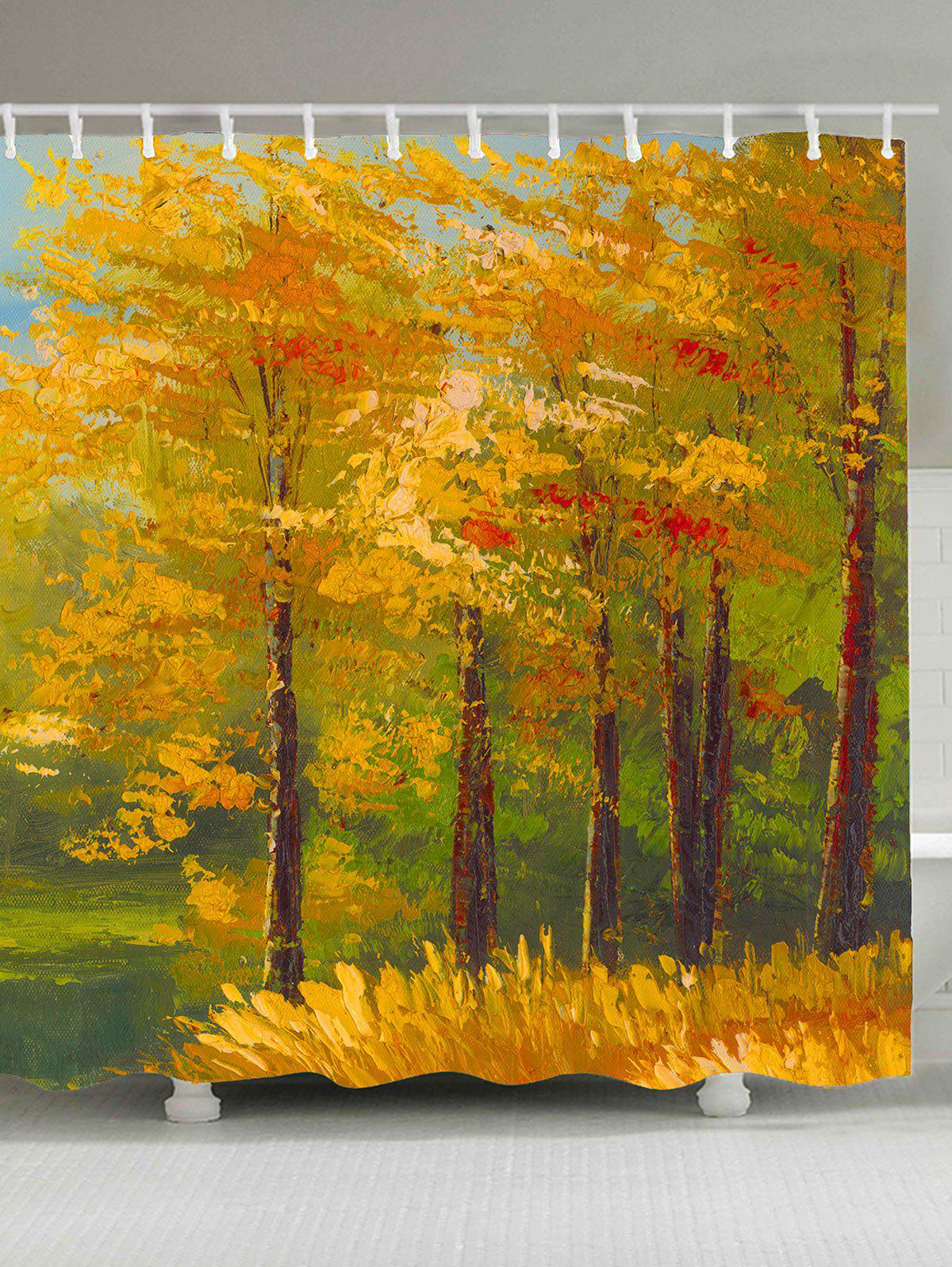 Waterproof Oil Painting Maple Trees Shower Curtain - GINGER W71 INCH * L71 INCH