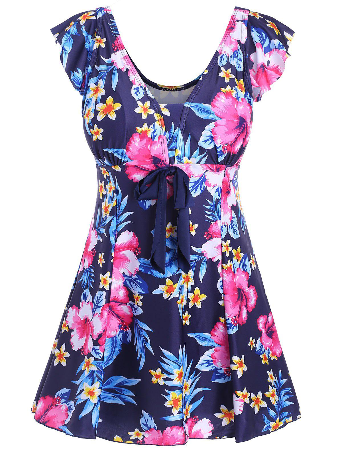 Floral Underwire Padded Plus Size Swimdress - BLUE 5XL