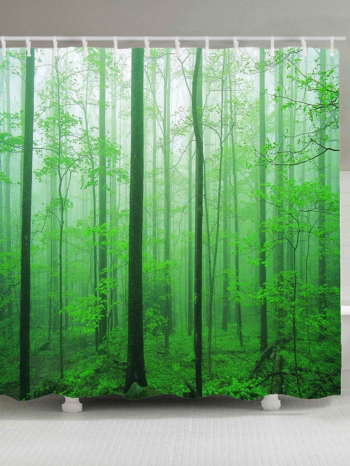 Waterproof Foggy Forest Tree Shower Curtain - GREEN W71 INCH * L79 INCH