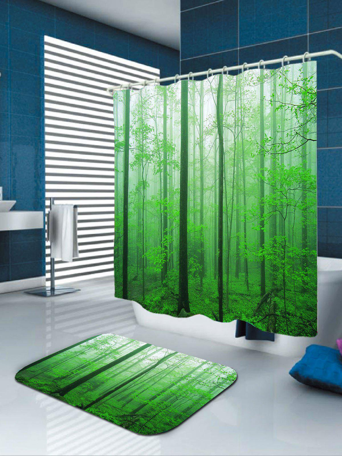 2018 rideau de douche l 39 ext rieur de la for t brumeuse imperm able l 39 eau green largeur. Black Bedroom Furniture Sets. Home Design Ideas