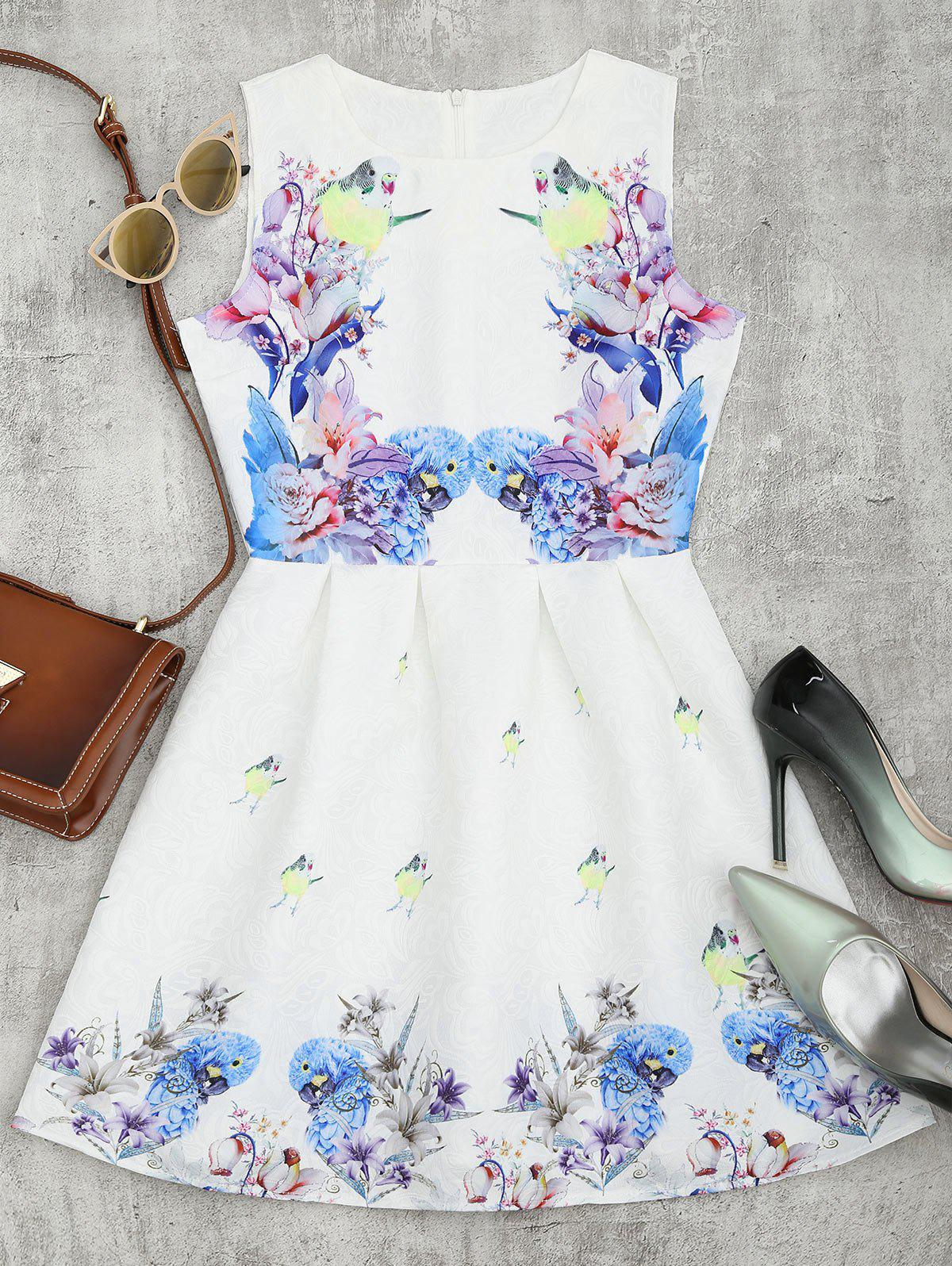 Bird Floral Print Mini Flared Dress - WHITE L