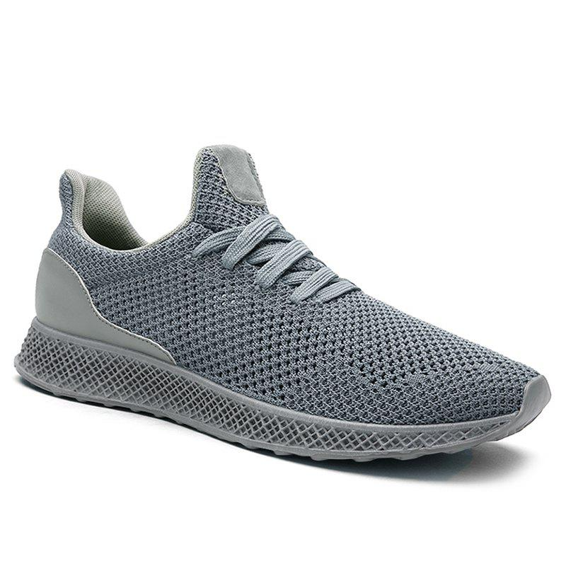 Mesh Lace Up Breathable Athletic Shoes - GRAY 44