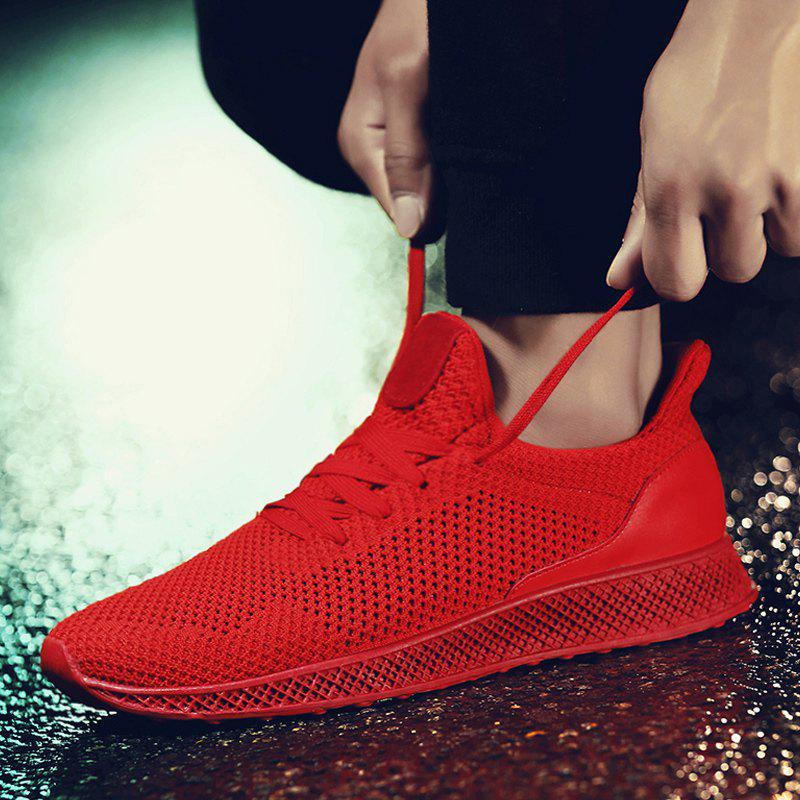 Mesh Lace Up Breathable Athletic Shoes - RED 41