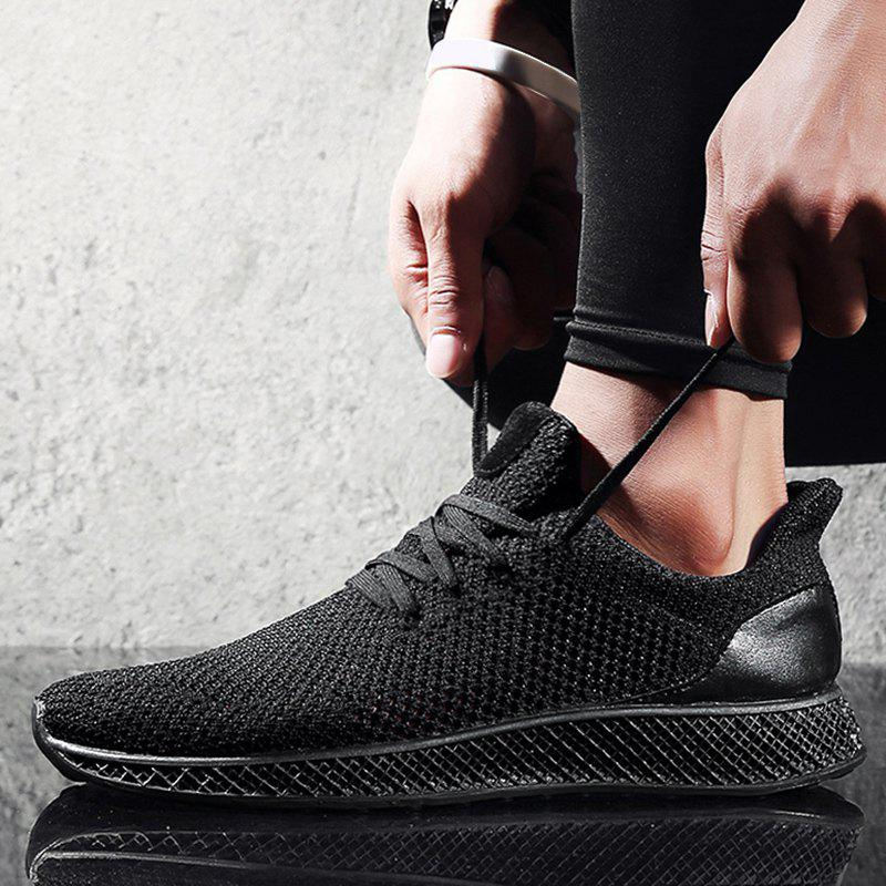 Mesh Lace Up Breathable Athletic Shoes - BLACK 44