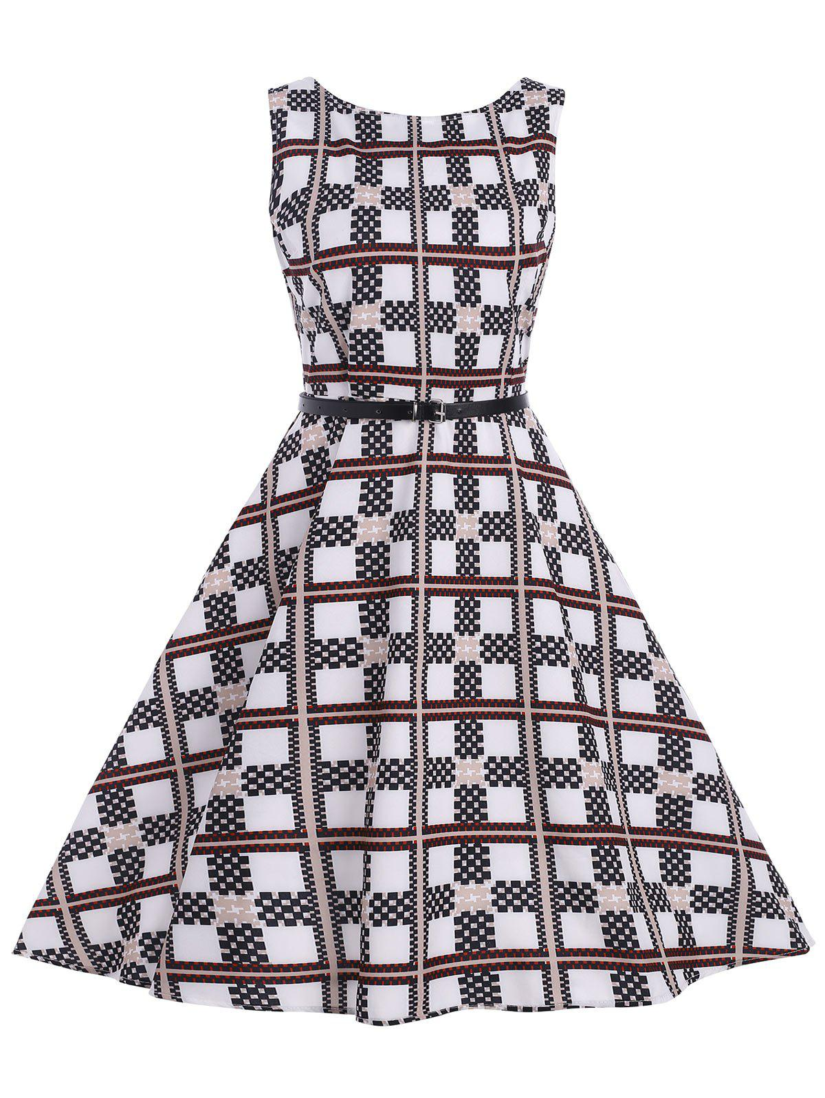 Checked Belted Vintage Dress - CHECKED S