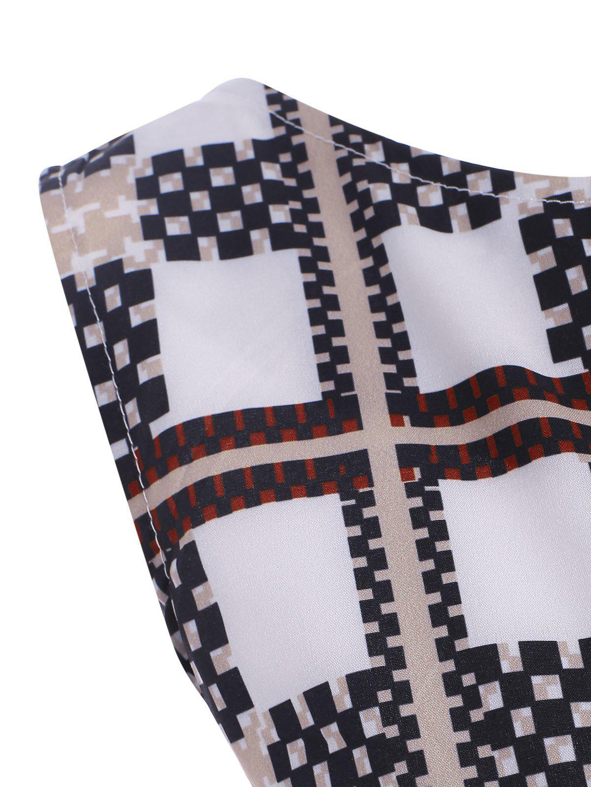 Checked Belted Vintage Dress - CHECKED L