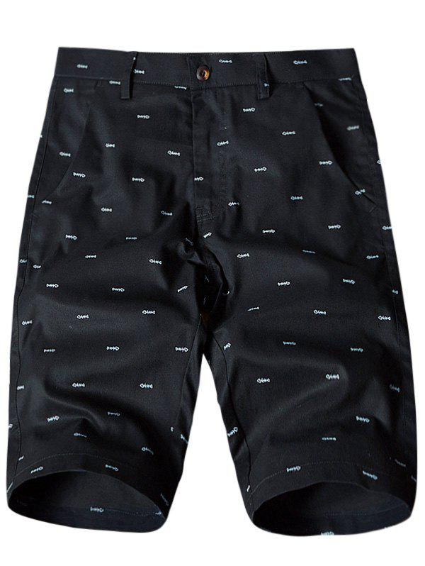 Fish Bone Print Flat-Front Shorts - BLACK 34