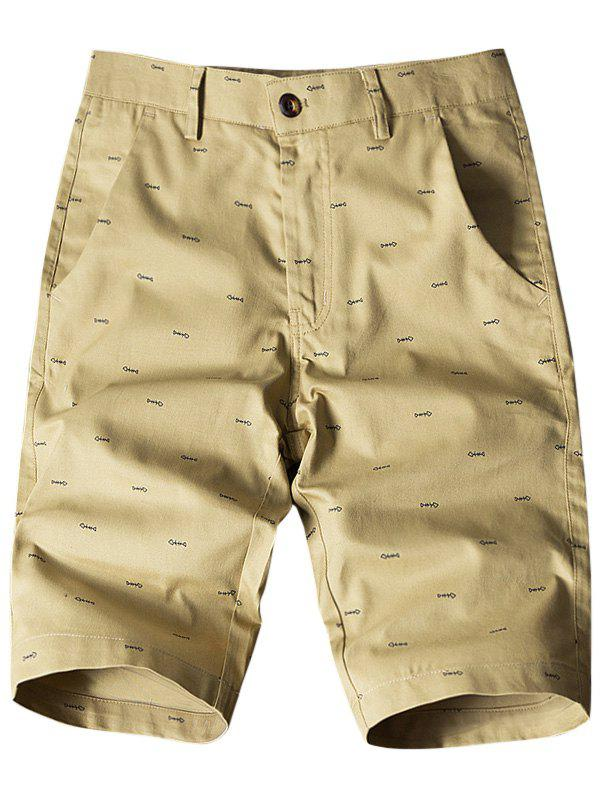 Fish Bone Print Flat-Front Shorts - EARTHY 34