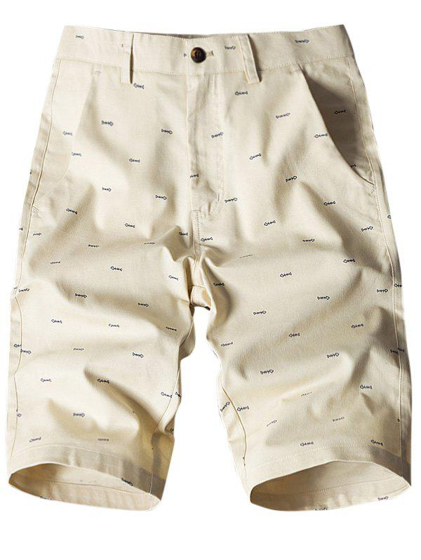 Fish Bone Print Flat-Front Shorts - LIGHT KHAKI 36