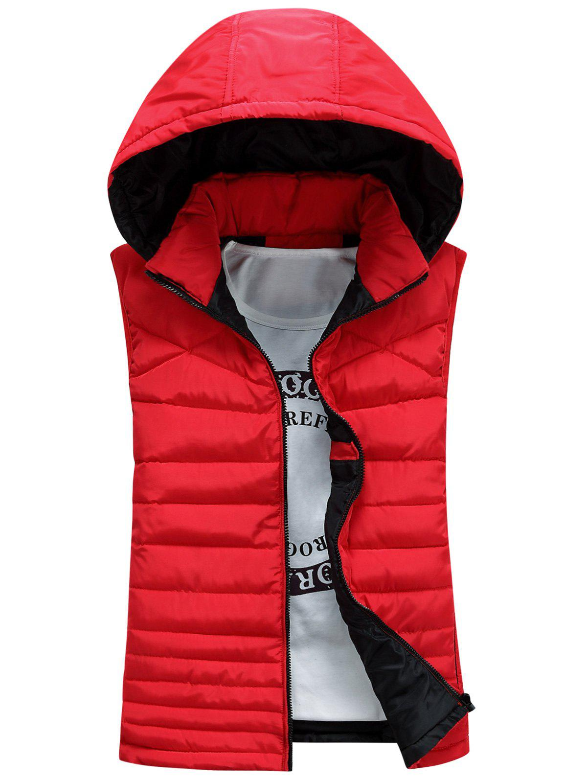 Detachable Hooded Padded Zip Up Waistcoat - RED L