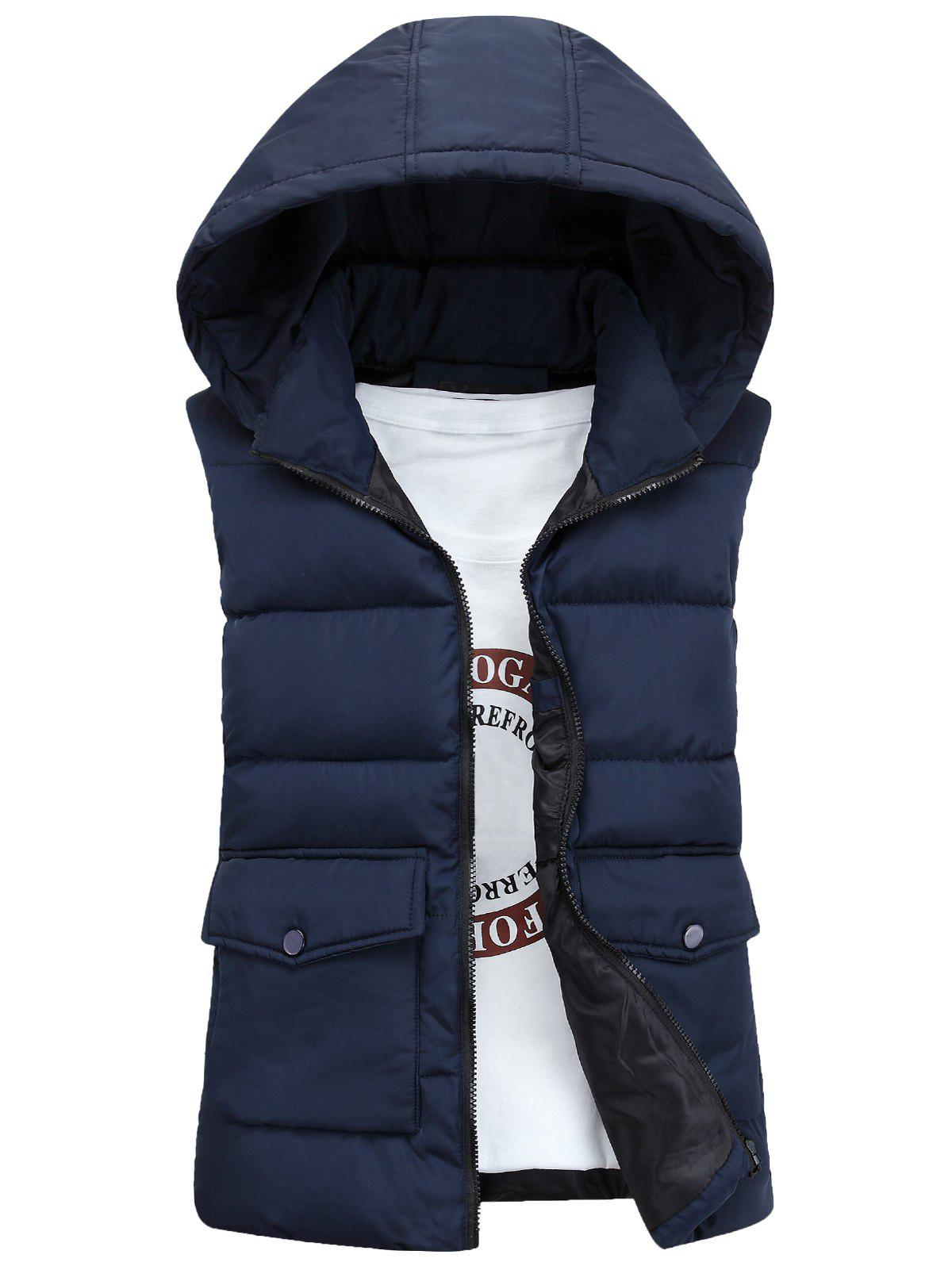 Pockets Detachable Hooded Padded Waistcoat - CADETBLUE L