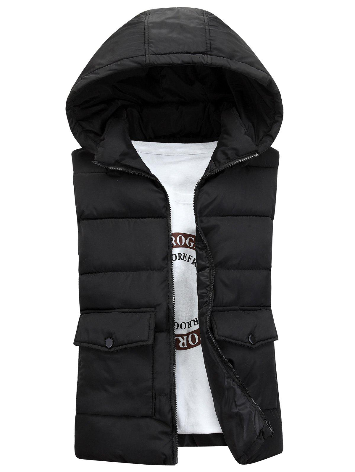 Pockets Detachable Hooded Padded Waistcoat - BLACK XL