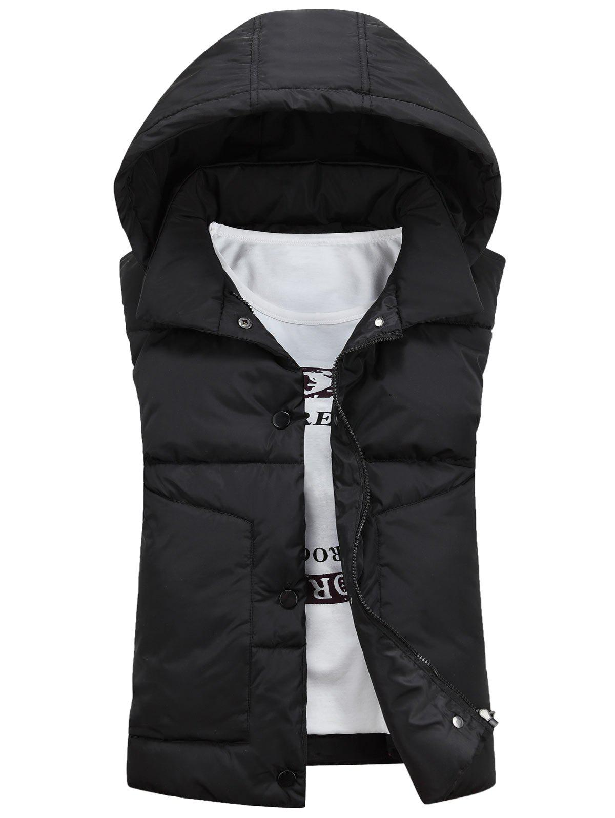Detachable Hooded Snaps Zip Up Padded Waistcoat - BLACK 2XL