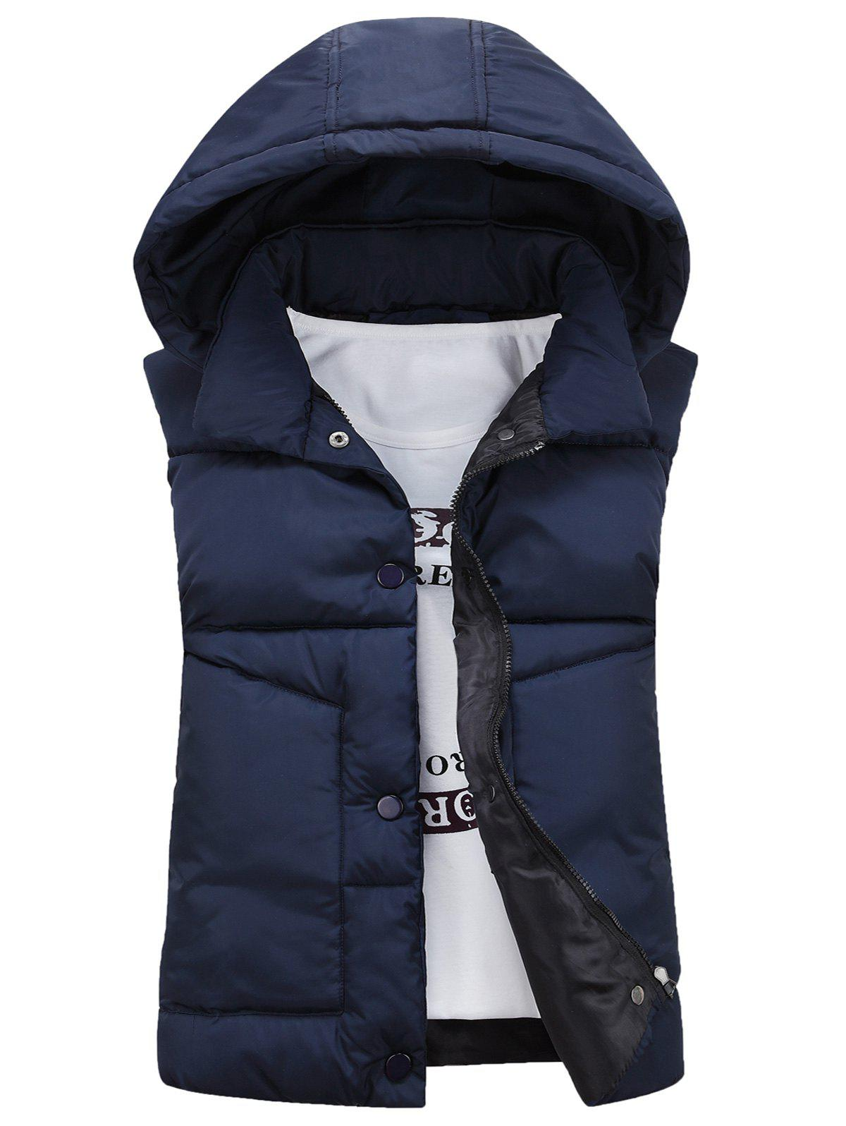Detachable Hooded Snaps Zip Up Padded Waistcoat - CADETBLUE M