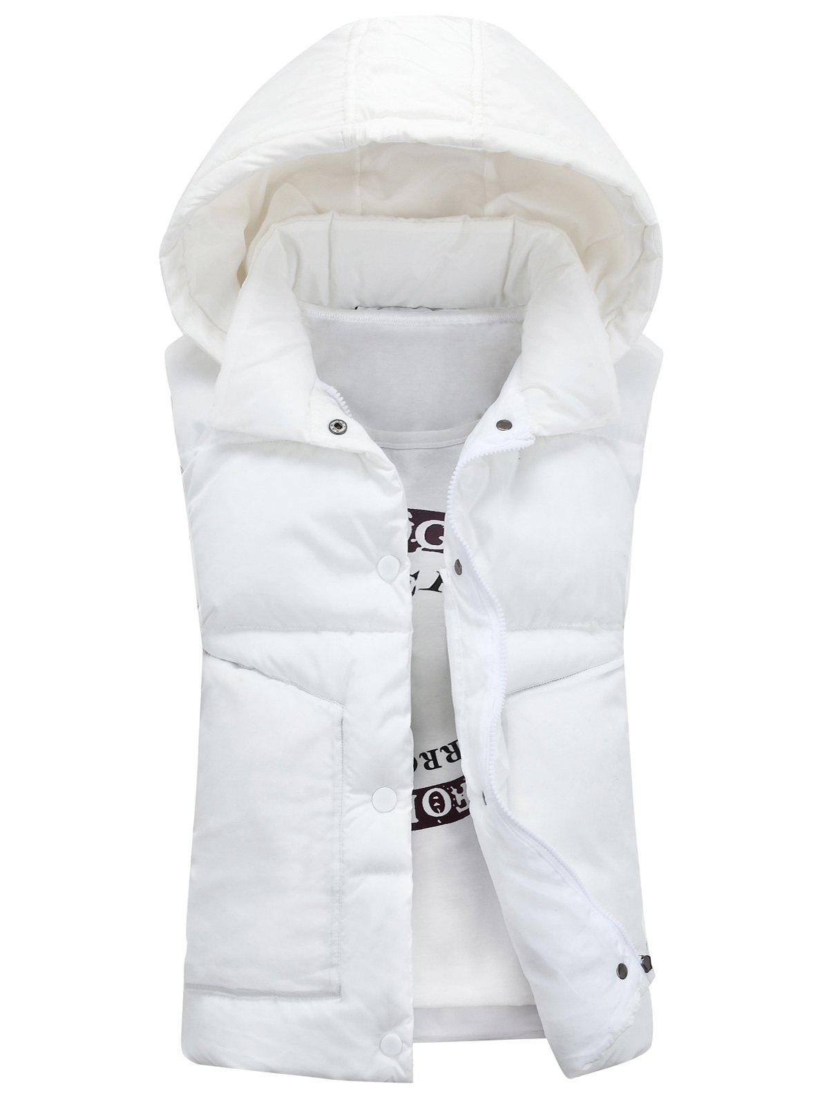 Detachable Hooded Snaps Zip Up Padded Waistcoat - WHITE M