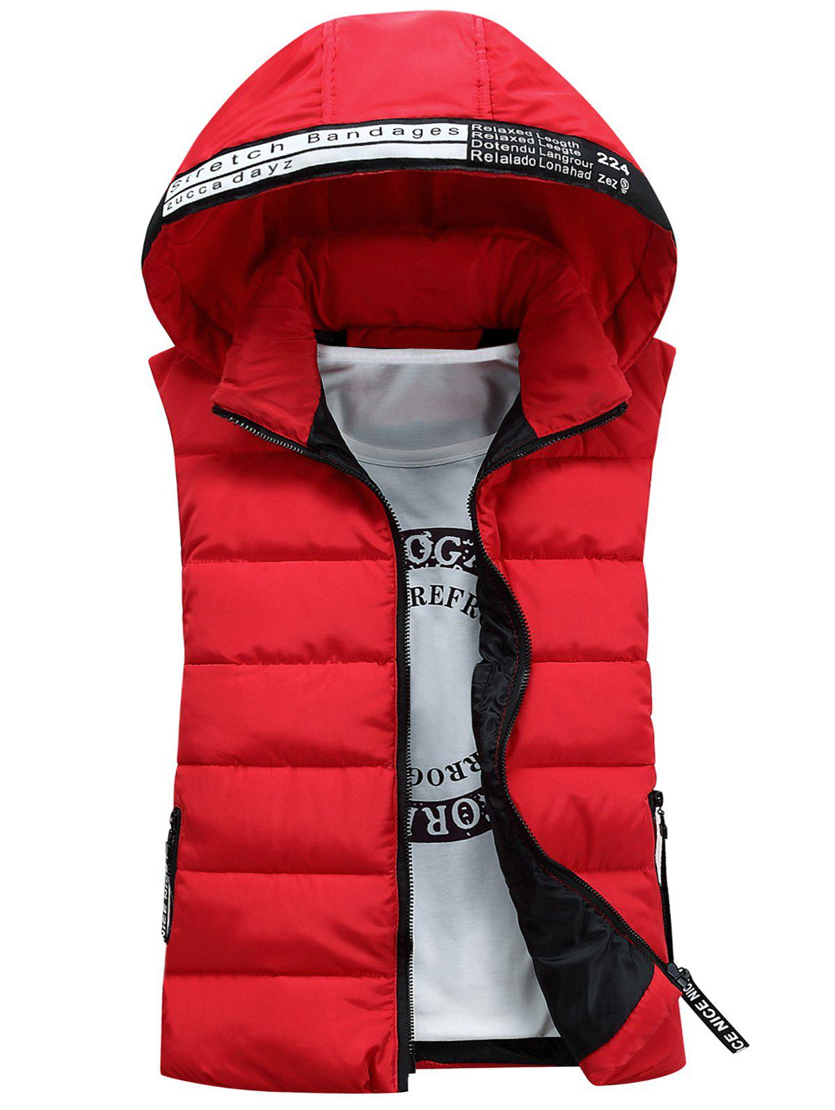 Detachable Hooded Graphic Embellished Padded Waistcoat - RED 3XL