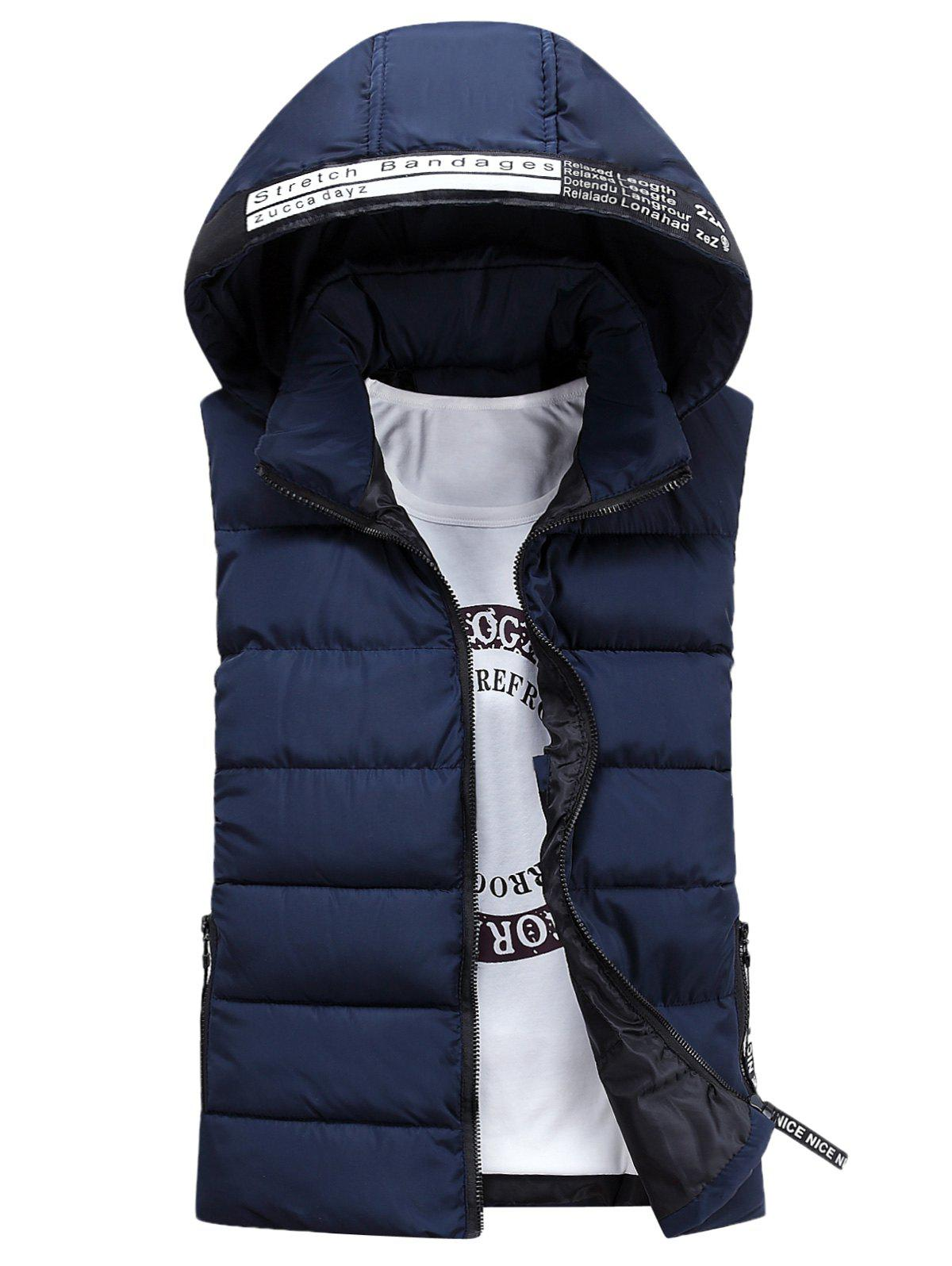 Detachable Hooded Graphic Embellished Padded Waistcoat - CADETBLUE 3XL