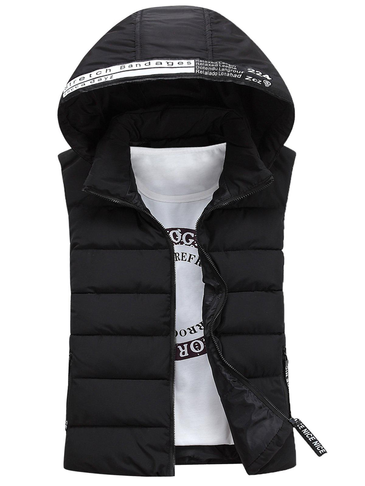 Detachable Hooded Graphic Embellished Padded Waistcoat - BLACK S