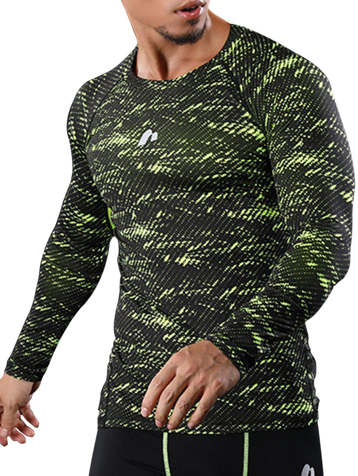 Quick Dry Camouflage Openwork Panel Gym T-shirt quick