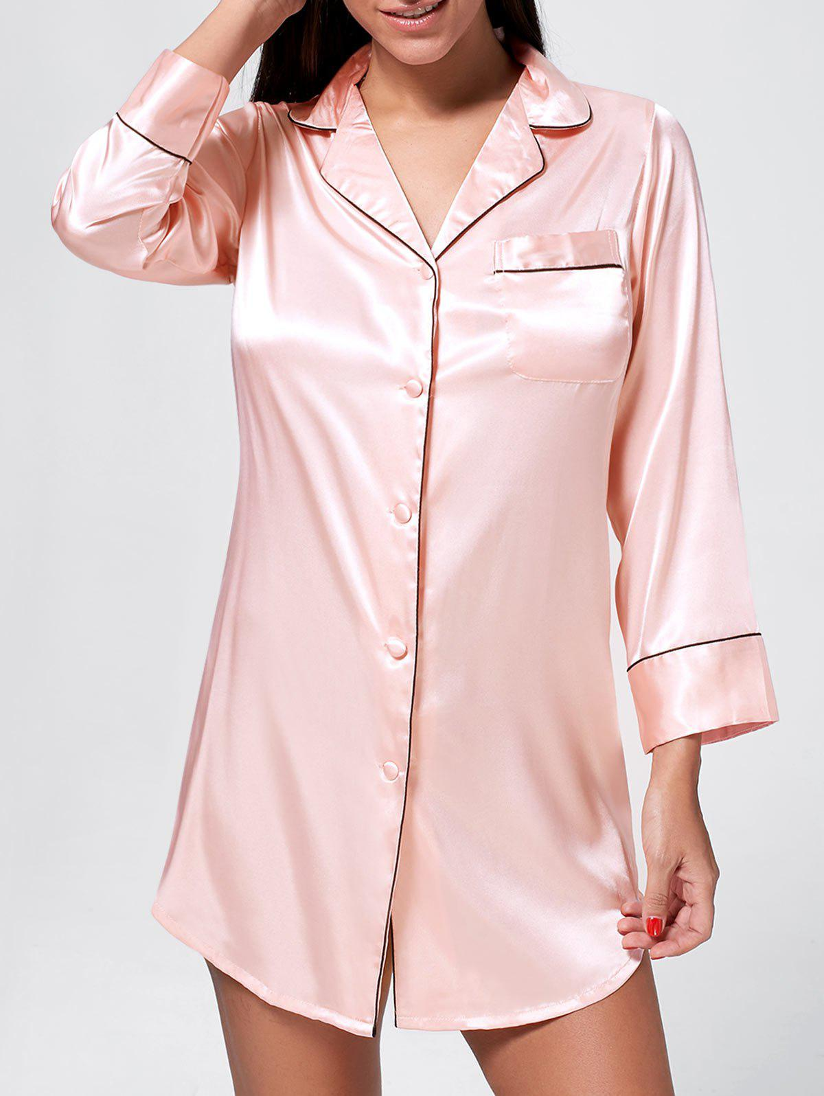 Satin Pajama Shirt Dress 5 5 x 2cm lcd multifunctional intelligent digital 4 x aa aaa batteries charger black us plug