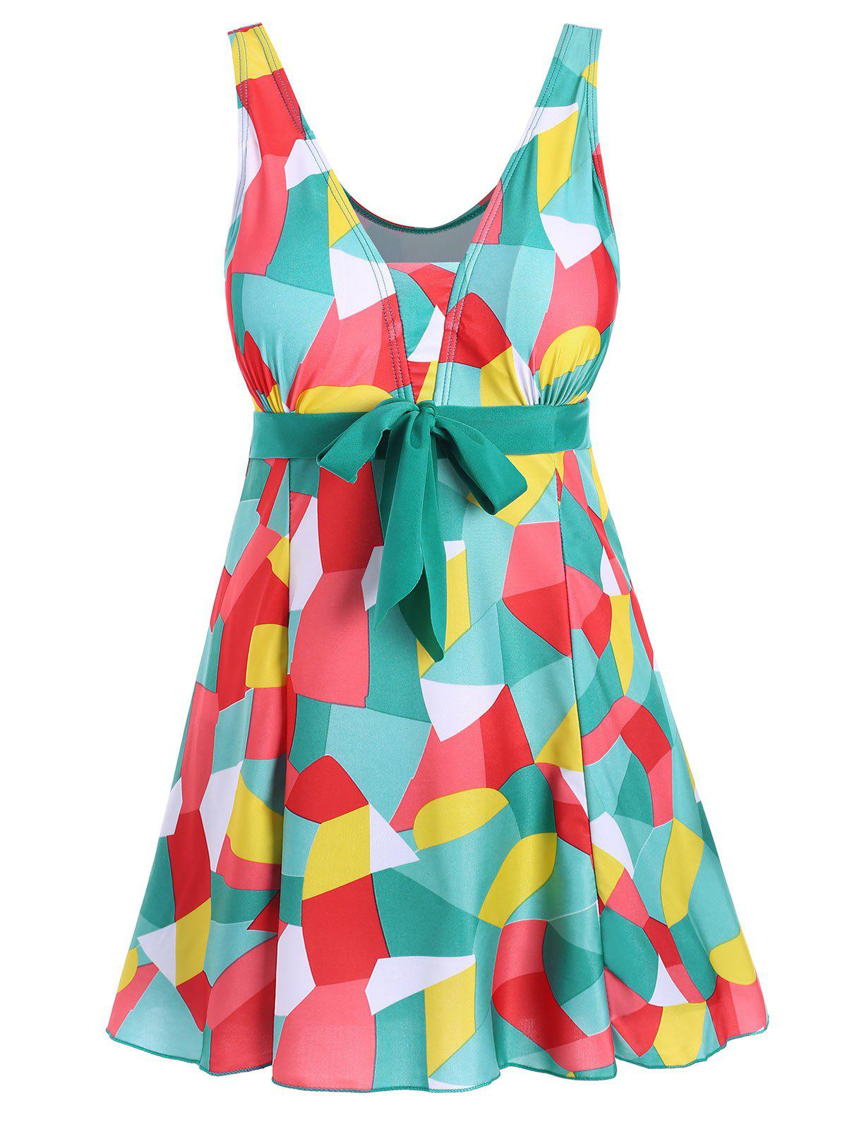 Padded Underwire Color Block Plus Size Swimdress - GREEN 5XL