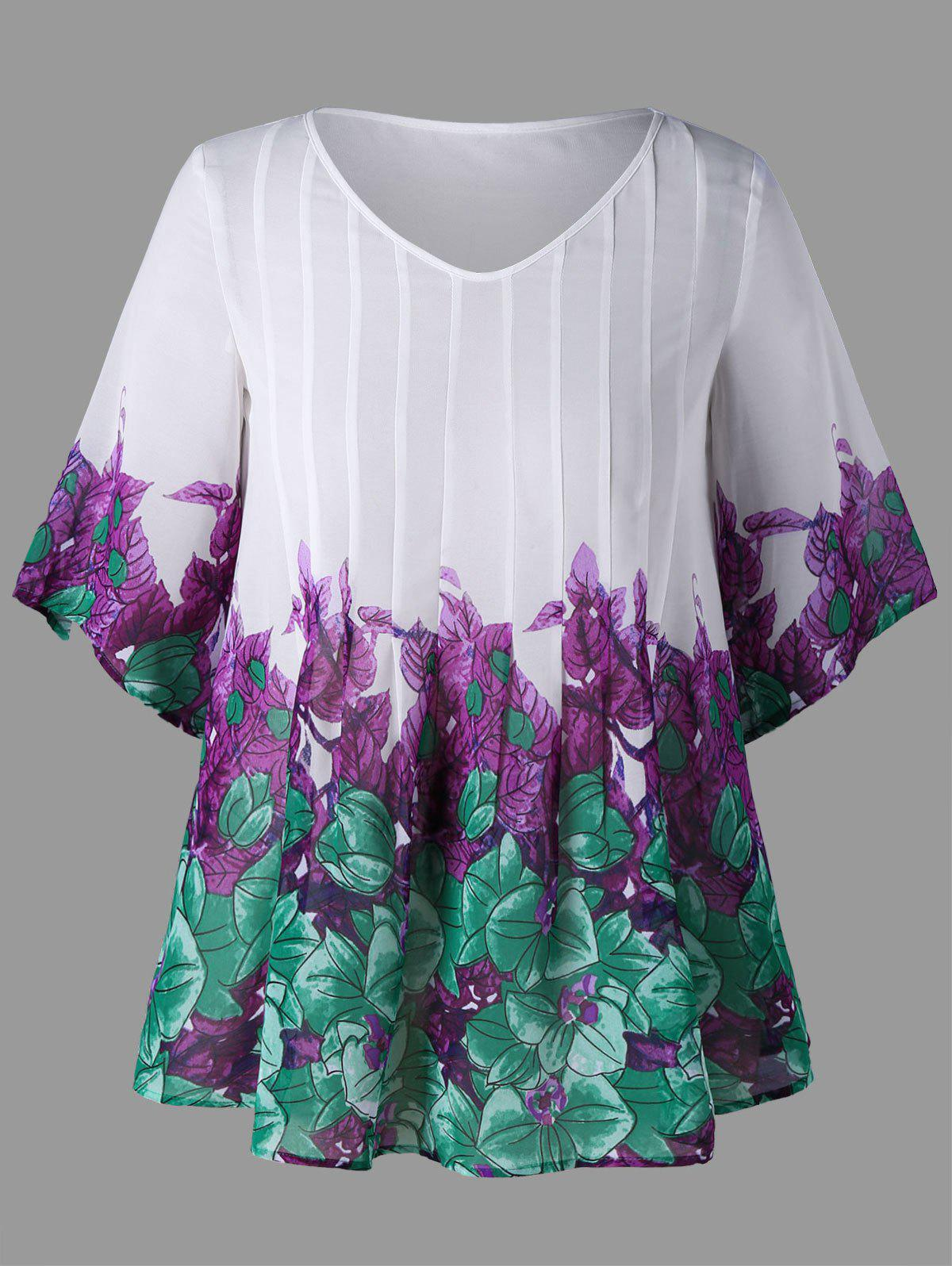 Plus Size Pintuck Leaf Print Blouse - WHITE 5XL