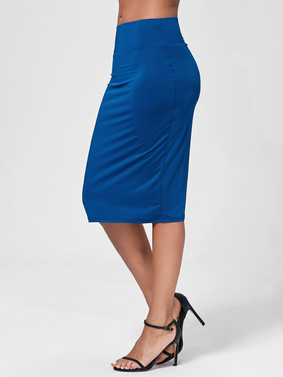 high waisted work bodycon midi skirt blue xl in skirts