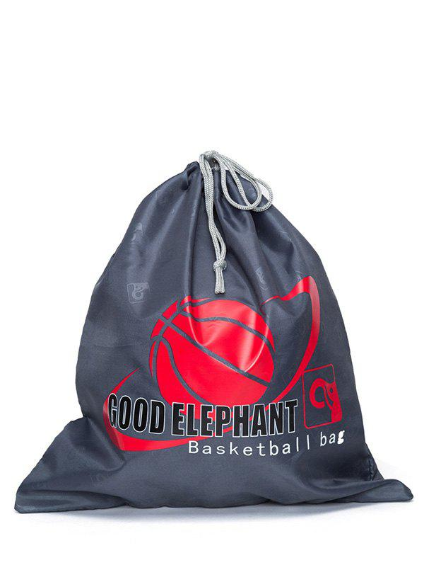 Basketball Print Drawstring Bag - DEEP GRAY