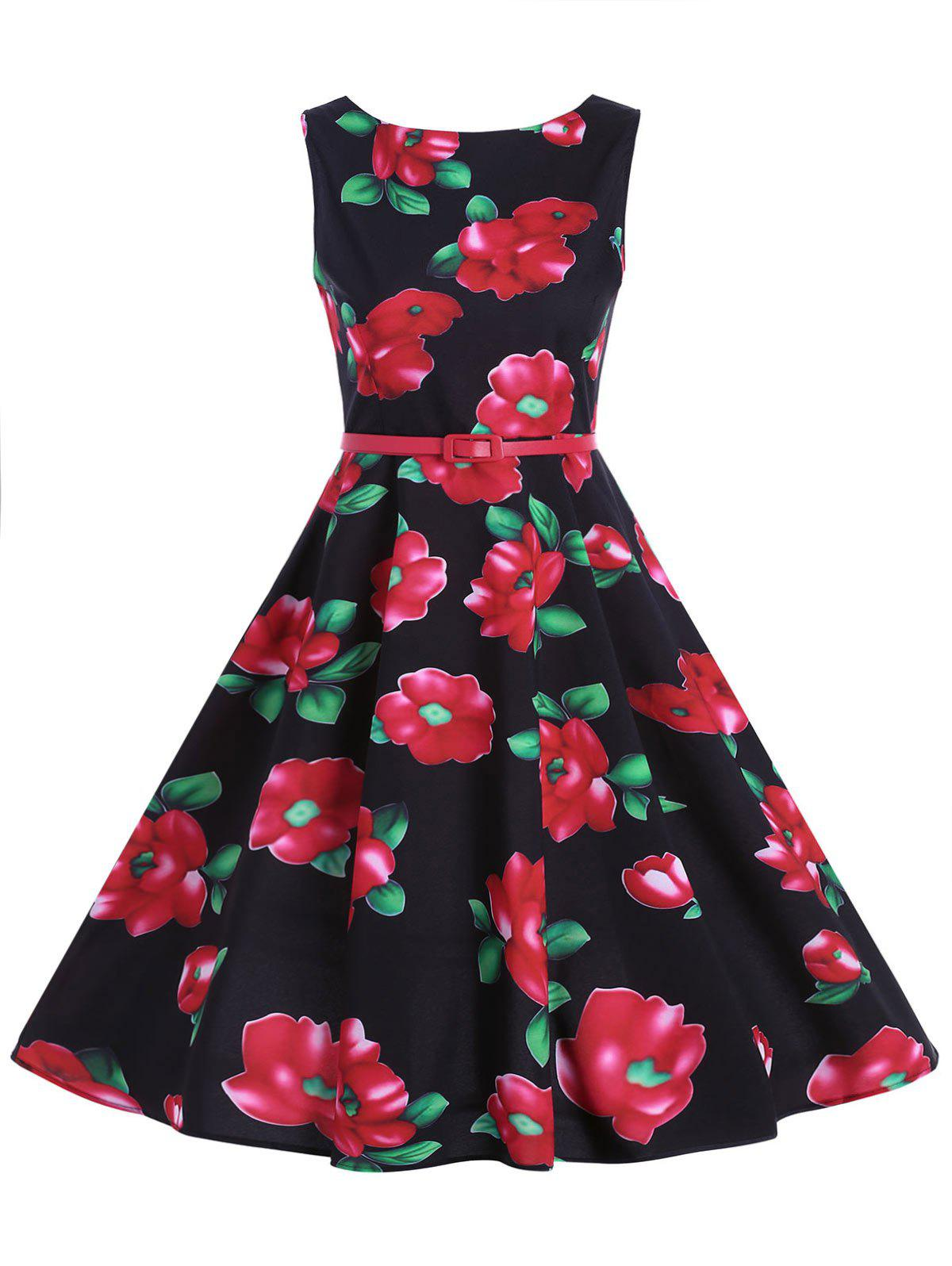 Floral Belted Fit and Flare Dress - BLACK XL
