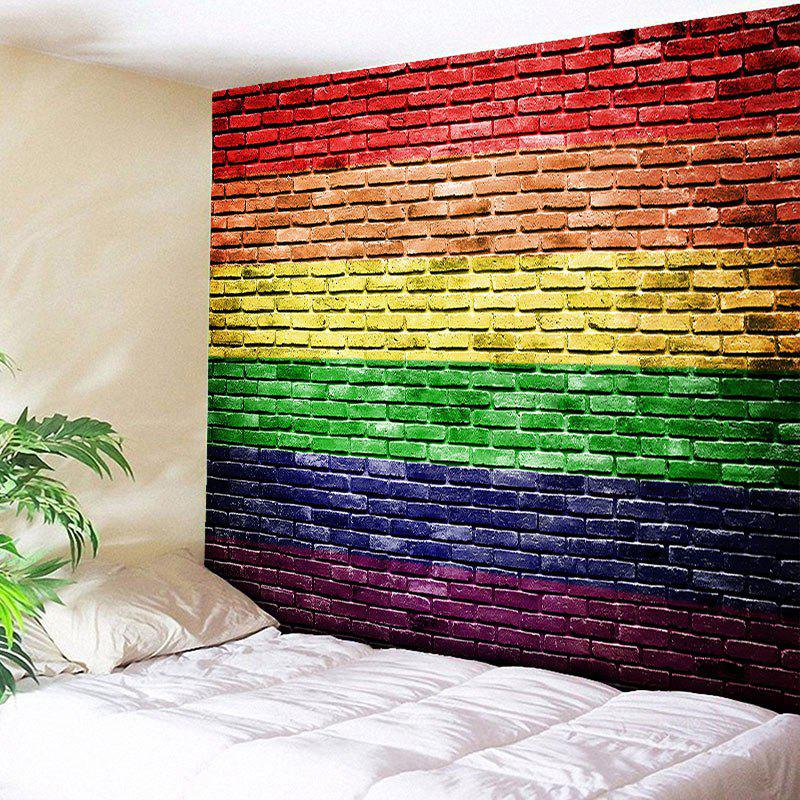 Wall Hanging Rainbow Brick Wall Print Tapestry - COLORFUL W59 INCH * L51 INCH