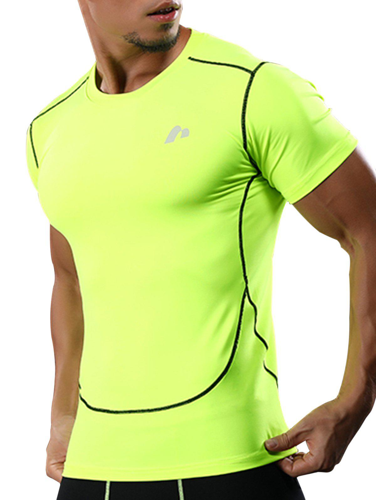 Suture Quick Dry Short Sleeve Stretchy Gym T-shirt - NEON GREEN L