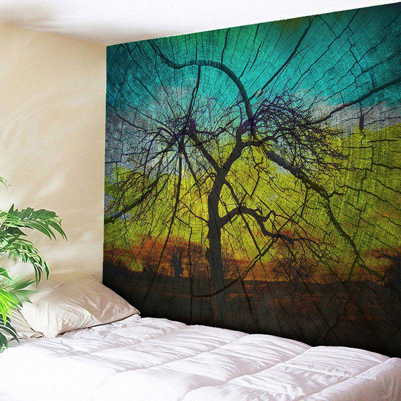 Wood Grain Wall Hanging Tree Shadow Tapestry - COLORMIX W59 INCH * L51 INCH