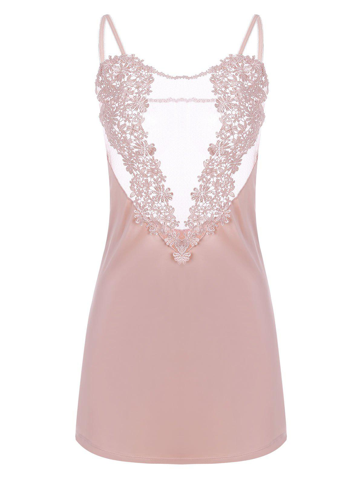 Embroidered Sheer Satin Slip Dress - LIGHT PINK ONE SIZE