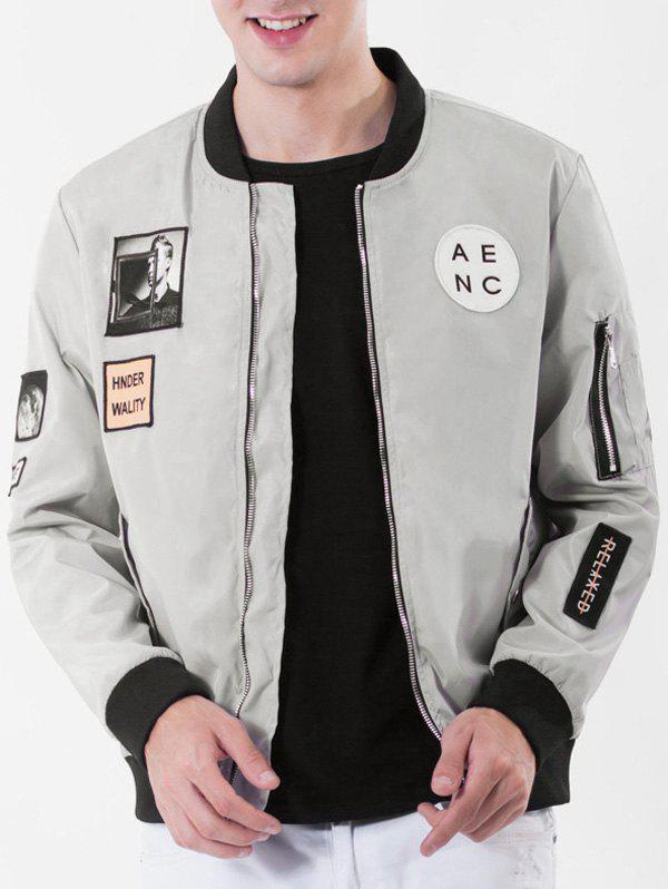 Rib Stand Collar Pocket Graphic Appliques Zip Up Jacket - GRAY L
