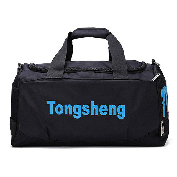 Nylon Letter Print Gym Bag - BLUE