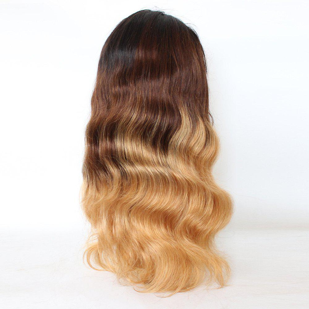 Free Part Long Loose Wave Colormix Indian Lace Front Human Hair Wig - GRADUAL BROWN