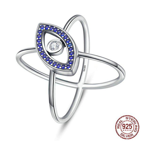 Rhinestone Sterling Silver Devil Eye Ring - BLUE 7