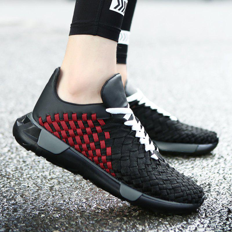 Weave Plaid Pattern Breathable Casual Shoes - BLACK/RED 43