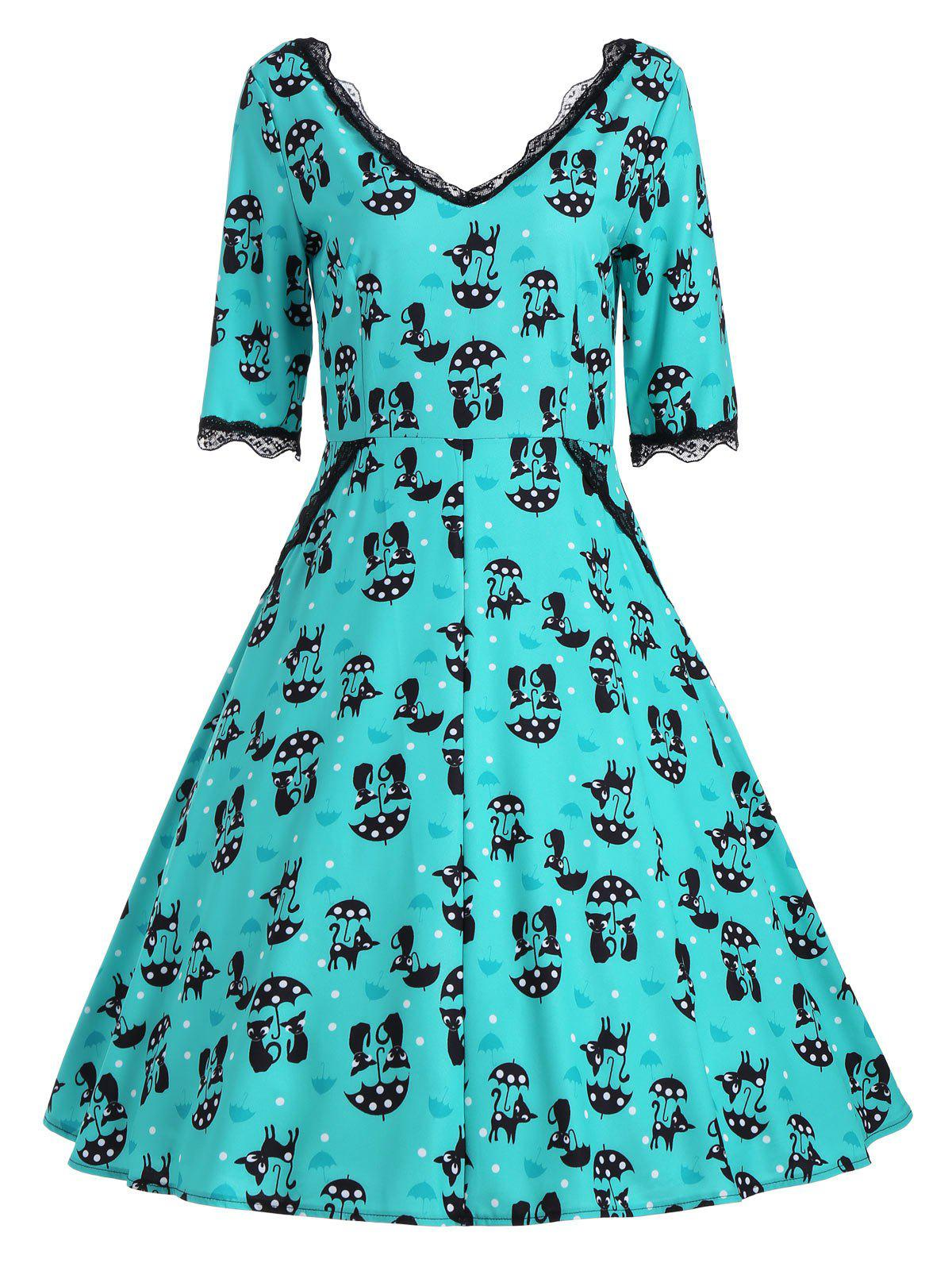 Kitten Print V Neck A Line Dress - GREEN XL