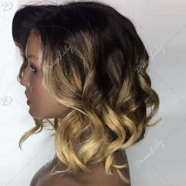 Deep Side Part Loose Wavy Short Bob Colormix Lace Front Human Hair Wig - GOLDEN YELLOW
