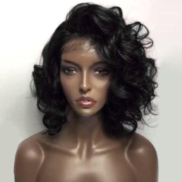 Deep Side Part Shaggy Loose Wave Short Lace Front Human Hair Wig - NATURAL BLACK
